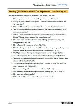 Unit Questions for: 'Go Ask Alice' Anonymous