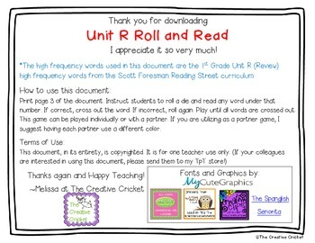 Unit R (Reading Street) High Frequency Word Roll and Read Game