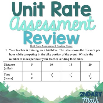 Unit Rate Assessment Study Guide