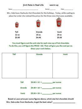 Unit Rate BUNDLE Worksheets Card Match Activity Real World