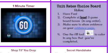 Unit Rate Choice Board