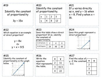 Unit Rate / Constant of Proportionality Game Board ~Common Core Standard  7.RP.1~