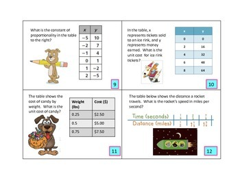 Unit Rate ~ Constant of Proportionality Task Cards 7.RP.A.1 and 7.RP.A.2.B