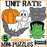 Unit Rate Fractional 5 Halloween Cooperative Mini-Puzzles Set for Display