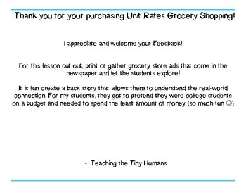 Unit Rate Grocery Shopping