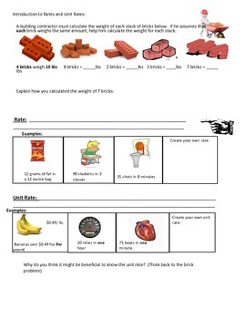 Unit Rate  ----) Intro, guided practice and independent practice
