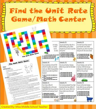 Unit Rate: Math Game/Math Center