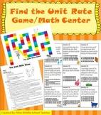 Unit Rate: Math Game/Math Center