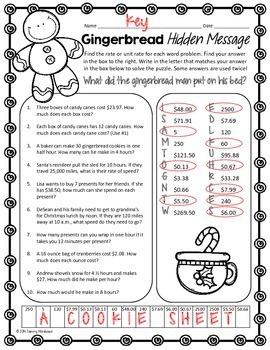 Unit Rate Math Puzzle - Gingerbread Man