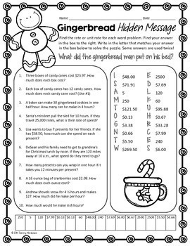 UNIT RATE WORD PROBLEMS COMMON CORE MATH PUZZLE, HOLIDAY MATH