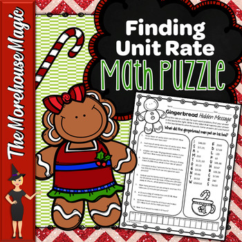 Unit Rate Math Puzzle - Gingerbread Man