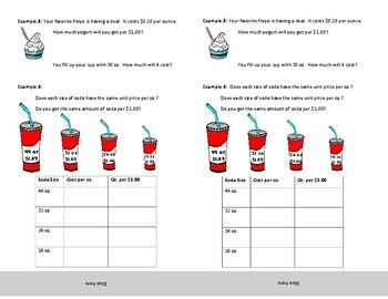 Unit Rate Notes for Interactive Notebooks