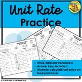 Unit Rate Worksheets