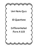 Unit Rate Quiz - Key Included - Form A & B