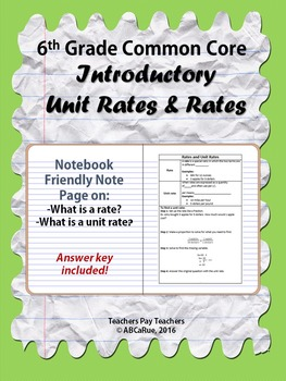 Unit Rate & Rate Notes
