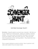 Unit Rate Scavenger Hunt