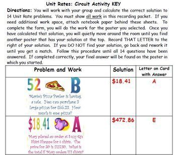 Unit Rate Scavenger Hunt Activity - Great unit or STAAR Review