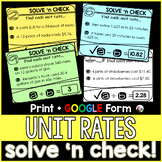Unit Rates Solve 'n Check! Task Cards - print and digital