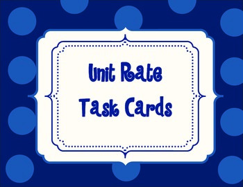 Unit Rate Task Card