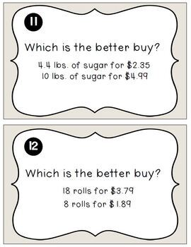 Unit Rate Task Cards