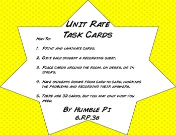 Unit Rate Task Cards- 6.RP.3b