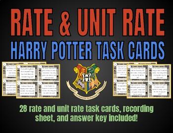 Unit Rate Task Cards (Harry Potter Theme)
