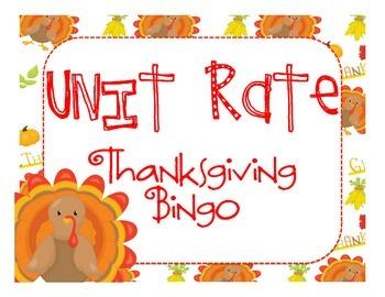 Unit Rate: Thanksgiving Bingo