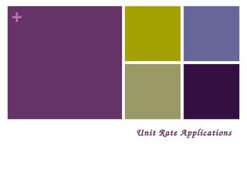 Unit Rate Word Problem Applications Activity