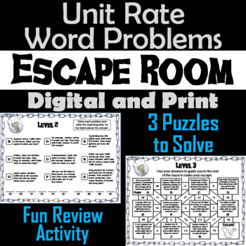 Unit Rate Word Problems Game: Escape Room Math