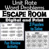 Unit Rate Word Problems Activity: Escape Room Math Breakout Game