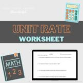 Unit Rate Worksheet - Short Practice, Quiz, or Exit Ticket