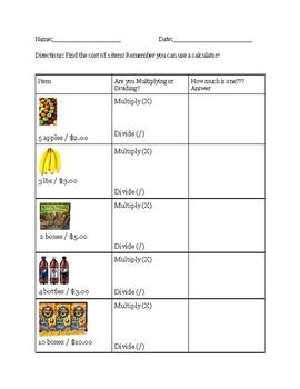 Unit Rate or Price Per Grocery Item
