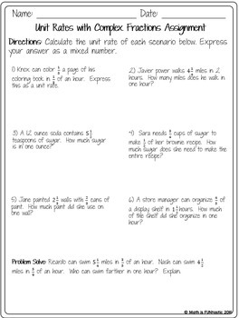 Unit Rate with Complex Fractions - Guided Notes, Error Analysis, and Assignment