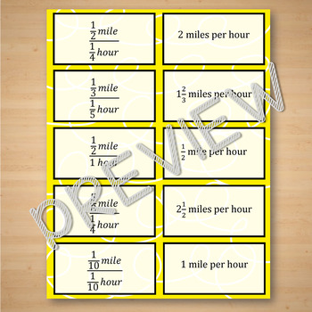 Unit Rate with Complex Fractions Task Cards Matching Game