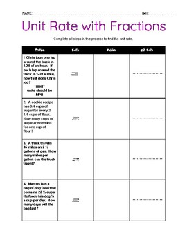 Unit Rate with Fractions
