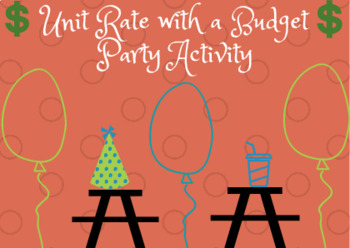 Unit Rate with a Budget Party Planning activity