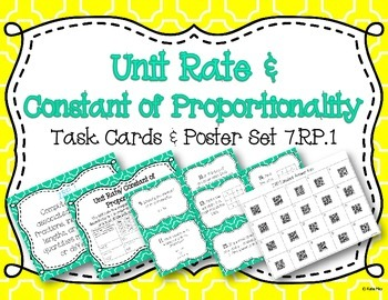 Unit Rate/Constant of Proportionality Task Card and Poster Set 7.RP.1