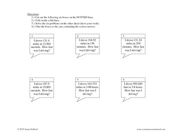 Unit Rates Activity (Cut and Paste)