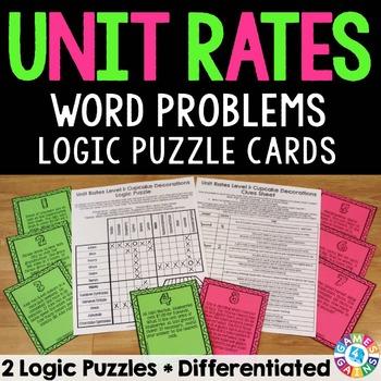 Unit Rates Activity: Unit Rates Word Problems Logic Puzzle {6.RP.2, 6.RP.3}