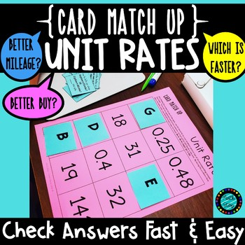 Unit Rates Better Buy Card Match Up Activity By Math Stop Tpt