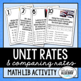 Unit Rates & Comparing Rates Math Lib - DISTANCE LEARNING