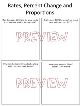 Unit-Rates, Conversions, Percent Change Review Worksheet, Homework or Quiz