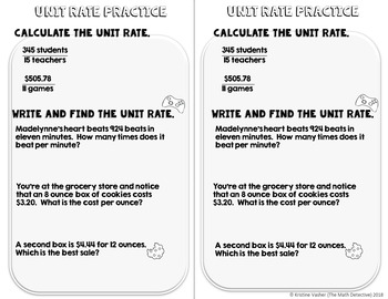 Unit Rates - Doodle Note Brochure for Interactive Notebooks
