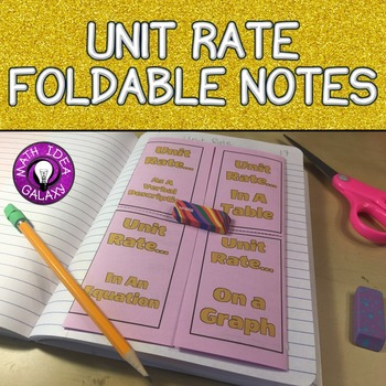 Unit Rates Foldable Notes for Interactive Notebook