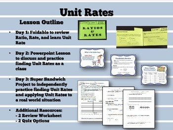 Unit Rates Foldable, PPT Lesson, Activity, Review Worksheet, and Quiz