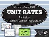 Unit Rates Foldable, PPT Lesson, Activity, Review Worksheet, and Quiz Bundle