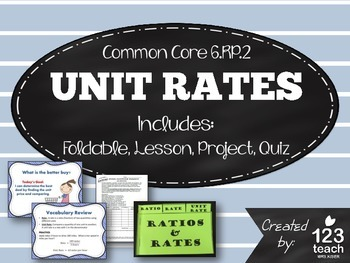 Unit Rates Foldable, PPT Lesson, Activity, Review Workshee