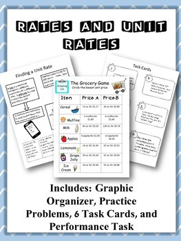 Unit Rates: Graphic Organizer, Activities and Task Cards