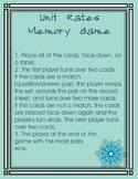 Unit Rates Memory Game