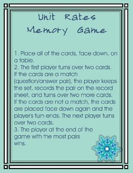 Unit Rates Memory Game